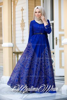 Hijab Fashion 2016/2017: Muslima Wear Magic Blue Dress  Hijab Fashion 2016/2017: Sélection de looks tendances spécial voilées Look Descreption Muslima Wear Magic Blue Dress