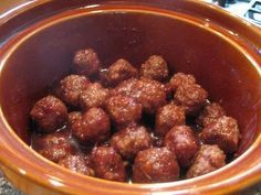 Delicious crock pot meatballs: 14 oz ketchup 1 C brown sugar 1 tsp salt 1 tsp pepper 1 tsp garlic 1 Tbs worcestershire sauce a few dashes of soy sauce 1 bag frozen meatballs Add all ingredients except the meatballs in a medium sauce pan. Simmer until well blended, then add meatballs. Turn your mixture out into the crockpot and cook on low 3-4 hours. Enjoy!