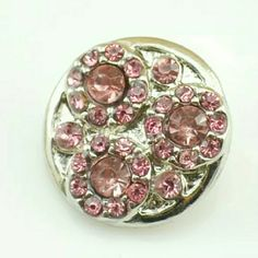 Light Pink Rhinestone Chunk Snap Button Charm NWOT 4 for $12~Add your favorites to a bundle and I will create a listing Jewelry
