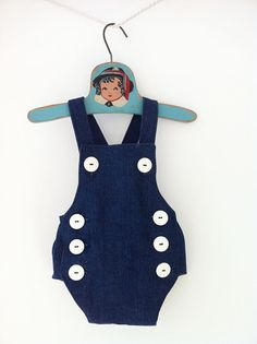 Unisex Summer Denim Romper Overalls - Sailor Nautical