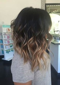 Love the color and cut! Asymmetrical, Wavy Lob Hairstyle, High Contrast Balayage Highlights