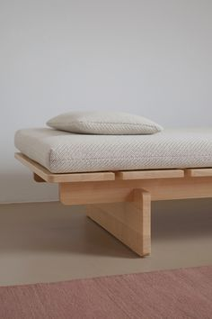 The Frankfurt-based studio of designer Johannes Fuchs has released 'Barril', an elegant daybed that takes its cues from the archetypal plank bed. Wooden Furniture, Home Furniture, Furniture Design, Modul Sofa, Diy Sofa, Furniture Inspiration, Bed Design, Bed Frame, Living Room