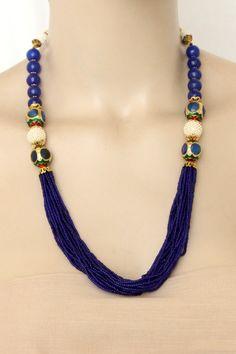 Nevy Blue Designer 23.5k Gold Plated Moti Mala (Necklace) 12774