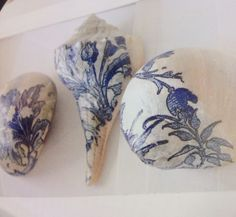 So love this look!! Seashells decoupaged with bits of paper napkins