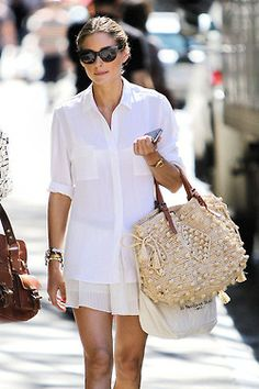 mine fashion white tan summer style skinny street style Model skirt sun fashionable trend trendy beach new york brown Leather blouse NY olivia palermo style icon