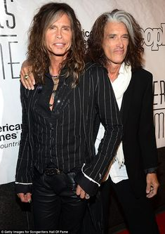 Honorees: Steven Tyler (left) and Joe Perry of Aerosmith were inducted into the Hall of Fame for their writing abilities (he's too much )