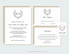 Wedding Invitation Collection Printable Text by TheDIYStore, $34.95