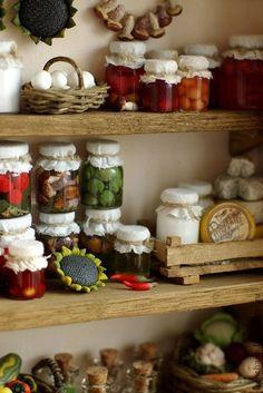 "Кукольный дом ручной работы. Ярмарка Мастеров - ручная работа ""Кладовая"" румбокс. Handmade. Mini Kitchen, Miniature Kitchen, Miniature Food, Miniature Dolls, Mini Doll House, Tiny Food, Mini Things, Small Furniture, Polymer Clay Crafts"