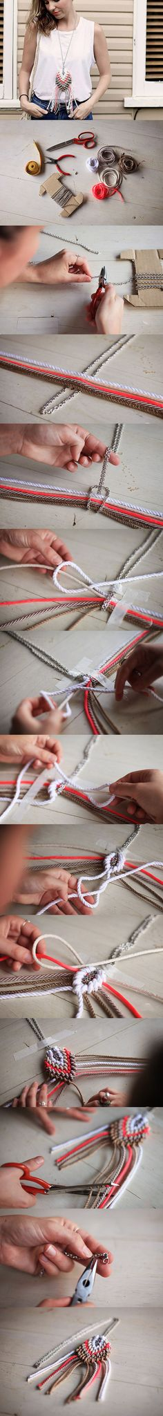 DIY: Jewelry Chains Cool Ideas smaller scale, beads on tassles. Diy Jewellery Chain, Macrame Jewelry, Jewelry Making, Macrame Necklace, Diy Collier, Do It Yourself Jewelry, Ideias Diy, Macrame Tutorial, Diy Schmuck