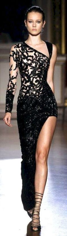 Ideas For Fashion Black Dress Glamour Zuhair Murad Style Haute Couture, Couture Fashion, Runway Fashion, Womens Fashion, Trendy Fashion, Dress Fashion, Fall Fashion, Fashion Models, Fashion Trends