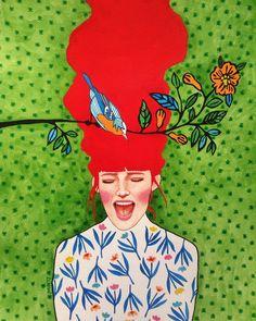 Hülya Özdemir is an artist born in Istanbul, Turkey, who creates beautiful images halfway between art and illustration, with watercolors. Art And Illustration, Portrait Illustration, Arte Pop, Canvas Artwork, Canvas Prints, Art Plastique, Portrait Art, Portraits, Oeuvre D'art