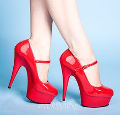 Red Pat Mary Jane Pumps W/ Buckle Strap, Valentine's Day Shoes