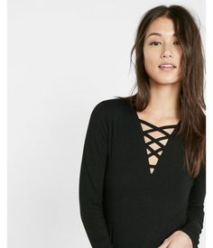 Strappy Long Sleeve V Neck Tee Black Women's X Small