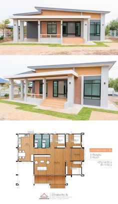 Stunning Three-bedroom Bungalow with a Provision for an Additional Room - Baustil Modern Bungalow House Design, Modern House Floor Plans, My House Plans, House Layout Plans, Simple House Design, Small House Plans, House Layouts, Modern Bungalow Exterior, Bungalow Floor Plans