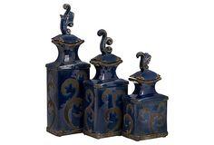 Cobalt Finial Jars, Asst. of 3 on OneKingsLane.com