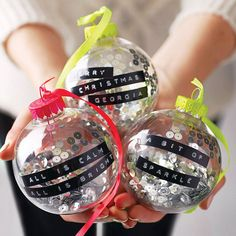 personalised tape sequin or snow bauble by the letteroom | notonthehighstreet.com