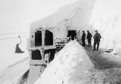 WWI, Jan 1917, Vosges; German soldier using a funicular railway on the snow-covered Hartmannswillerkopf hill, Vosges. ©IWM