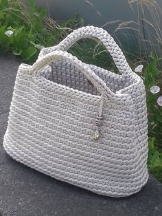 Handmade crochet bag from rope will be the best accessory or a gift for you or your friend! Perfect for using everyday. This stylish handbag just begs to be with you on holiday. Size: height 26 cm in], width 32 cm in] The length of the handle 27 Rope bag Crochet Basket Pattern, Crochet Tote, Crochet Handbags, Crochet Purses, Crochet Gifts, Beach Crochet, Crochet Summer, Crochet Patterns, Diy Sac