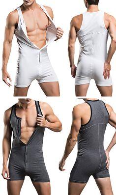 Men Sexy Sleepwear:  One Piece Siamese Vest / Home Body Sculpting Pajamas, Pure Cotton:)