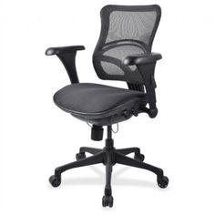 Lorell Mid-back Chair with Mesh Back, Black