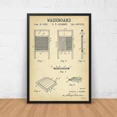 Rustic laundry room decor vintage washboard picture laundry room laundry room art washboard patent printable laundry room decor digital download blueprint art malvernweather Images