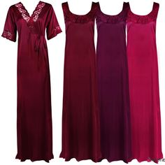 LADIES PLUS SIZE PURPLE LONG NIGHTDRESS NIGHTIE LOUNGER NIGHTWEAR SET