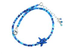 Simple anklet, beach jewelry, blue, gift for mom, Mothers day gift Blue Gift, Beach Jewelry, Diy Necklace, Anklet, Czech Glass, Shades Of Blue, Seed Beads, Gifts For Mom, Mothers