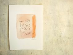 cat in red original watercolors  cat illustration pet by vumap