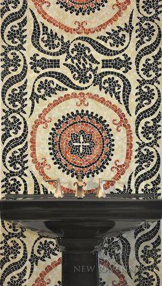 Suzani design mosaic bath wall in Obsidian, Agate, and Carnelian Glass from New Ravenna. #parisceramics #mosaics #bathroom #bath #backsplash #newravenna #london #beatiful #agate #carnelianglass #obsidian #design #architecture #interiordesign #renovation #extension #development #homedecor #decoration #walls #floors #home #designidea #showroom #picoftheday #stones #collection #elegant #trend #style #limestonegallery #deferranti #idea #interiorinspiration