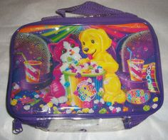 Lisa Frank Zipper small Pouch Case Tote handle VTG Cats and Dogs  #LisaFrank