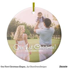 Shop Our First Christmas Elegant Modern Ornament created by CleanGreenDesigns. Our First Christmas Ornament, Christmas Is Coming, Christmas Tree Ornaments, Christmas Holidays, Christmas Ideas, Holiday Cards, Christmas Cards, Personalized Ornaments, Elegant