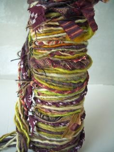 "MyMixMix on Etsy. ""Carpet Bag"" poquito skein mixed fiber hand-spun art yarn."