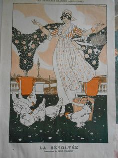 1913 ORIGINAL FRENCH ART DECO PRINT The rebellious lady with chickens by Vincent #ArtDeco