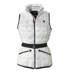 FERRARI Exclusive Shield Vest for ladies, waterproof fabric, genuine 80/20 feather-down padding available on store.ferrari.com. #FerrariStore
