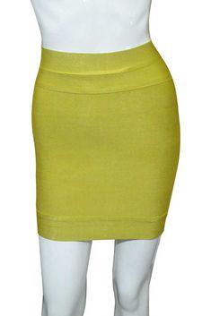 Herve Leger Mini Short Yellow Bandage Dresses