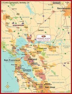 Bay Area overview hotel locator © Eureka Cartography, Berkeley, CA