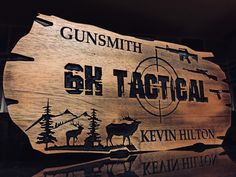 Custom sign personalized wooden carved sign guns tactical firearms man cave decor