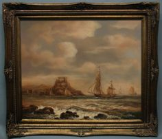 Framed oil painting of old world sail boat in the ocean antique gold frame