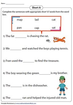 Completing Sentences with Short A Words