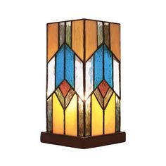 """River of Goods 15223 Tiffany Single Light 10-1/2"""" High Table Lamp ($112) ❤ liked on Polyvore featuring home, lighting, table lamps, lamps, multicolor, colorful lamps, round table lamp, round lamp, multi colored lights and geometric table lamp"""
