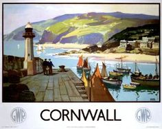 This Poster dates to 1937 Great Western Railway Travel poster showing a harbour scene in Cornwall the South of England Artwork by Leonard Richmond Posters Uk, Railway Posters, Poster Prints, Art Prints, Retro Posters, Poster Vintage, Vintage Travel Posters, Vintage Ads, Vintage Style