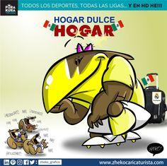 "#ElCartonDelDia para @purakuraWeb ""HOGAR DULCE HOGAR"" @ClubAmerica @iCF_America #RealMadridVsAmerica Zheko Caricaturista Caricaturas Deportivas"