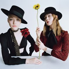 """Like makeup with twiggy lashes and nude lip. like the brown pencil line on eyes of right model.  Like the """"clockwork orange"""" surrealist vibe of the model on the left. Use of 2 models in shot. Also like how the white table cuts her off at the waist so you focus on her shoulders and face.    Elle and #DakotaFanning photographed by #TimWalker, styled by @Kjeldgaard1. W magazine"""