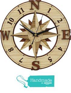Compass Clock in wood - Wind Rose - Windrose from Woodentek  #CompassRoses #compass #outdoor #camping #trakking #adventure #trip #direction #hike #trail #sailor #nautical #boating #marine #sailing #yachting #map #RosadelosVientos #brujula #BirthdayGifts #MothersDay #FathersDay #Giftforme #Gifts #GiftsIdeas #HandMade #WishList #Giftformen #Giftforher #WallClock