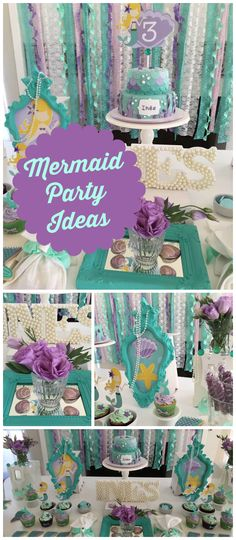 I'm loving this mermaid party with a teal and purple color scheme! See more party ideas at CatchMyParty.com!