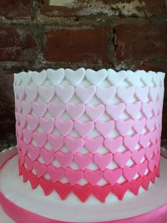Ombre heart cake for Valentine's Day