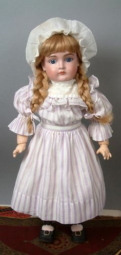 """Closed Mouth Kestner 169 20"""" in Beautiful Antique Lilac Costume on Near-Mint Body"""