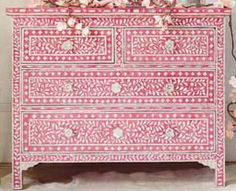 Yum! #pink  of drawers with bone inlay