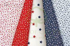 Floral and stars red & navy cotton fabric set / Zestaw łączka i gwiazdki czerwono-granatowy
