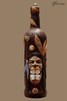 botella de vidrio decorada indio